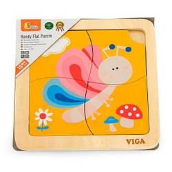 Деревянный мини-пазл Viga Toys Бабочка, 4 эл. (50136)