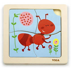 Деревянный мини-пазл Viga Toys Муравей, 4 эл. (50139)