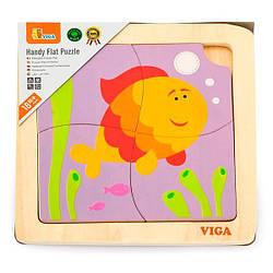 Деревянный мини-пазл Viga Toys Рыбка, 4 эл. (50144)