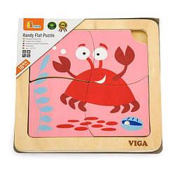 Деревянный мини-пазл Viga Toys Крабик, 4 эл. (50146)