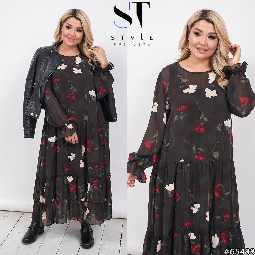 Легкое шифоновое платье размеры Универсальный (50-54)