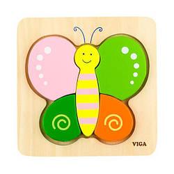 Деревянный мини-пазл Viga Toys Бабочка (50170)