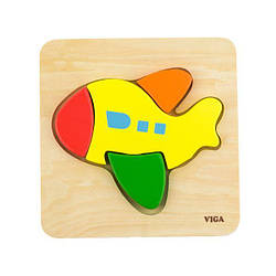 Деревянный мини-пазл Viga Toys Самолетик (50173)