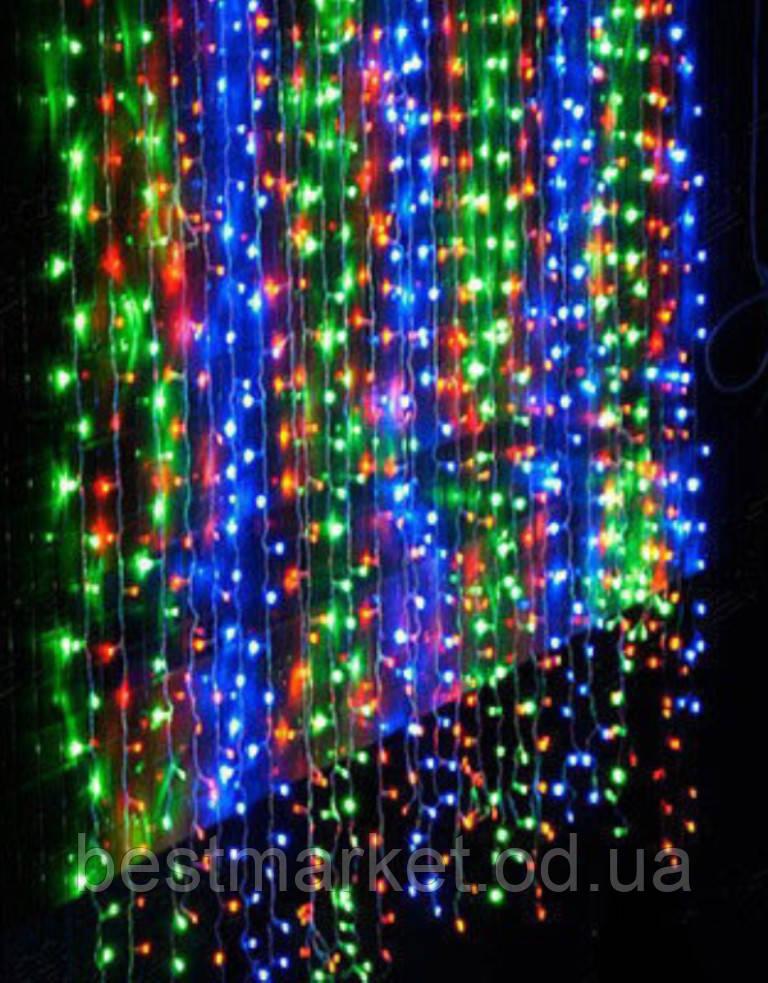 Светодиодная Гирлянда Водопад 300 LED В 2 х 2м в Ассортименте