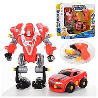 Конструктор робот трансформер, трансформируется, разбирается, робот 23 см,  1501 Red