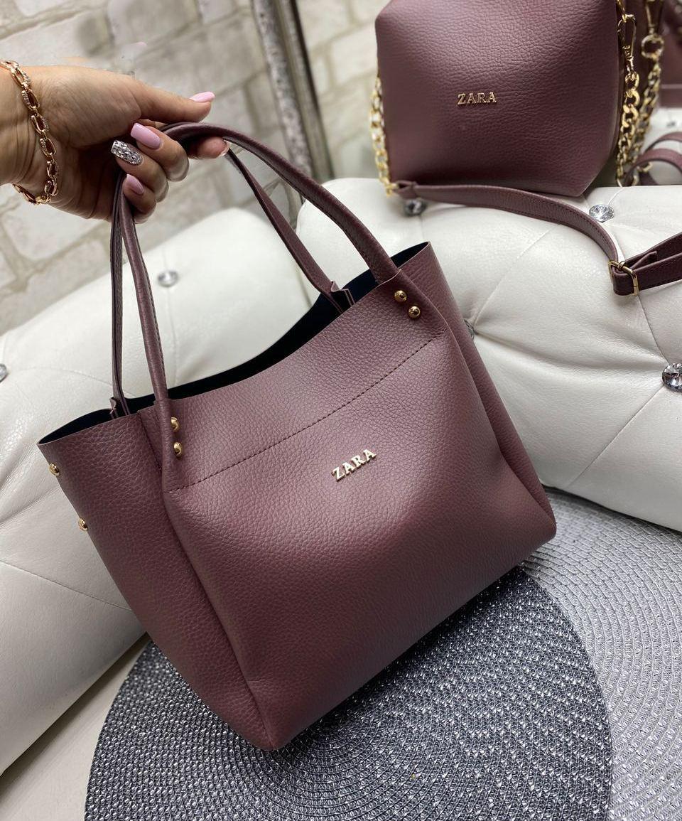 Большая женская сумка на плечо с косметичкой клатчем брендовая стильная темная пудра кожзам
