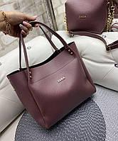 Большая женская сумка на плечо с косметичкой клатчем брендовая стильная темная пудра кожзам, фото 1