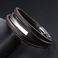 Мужской браслет кожаный коричневый тройной, фото 1