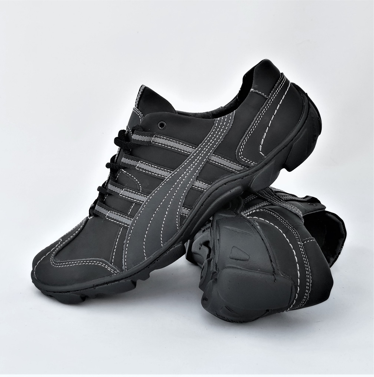 Кожаные Мокасины Мужские Кроссовки Черные Туфли (размеры: 40,41,42,43,44,45)