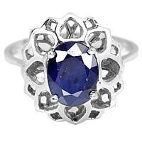Серебряное кольцо с сапфиром, 9*7 мм., 1560КС