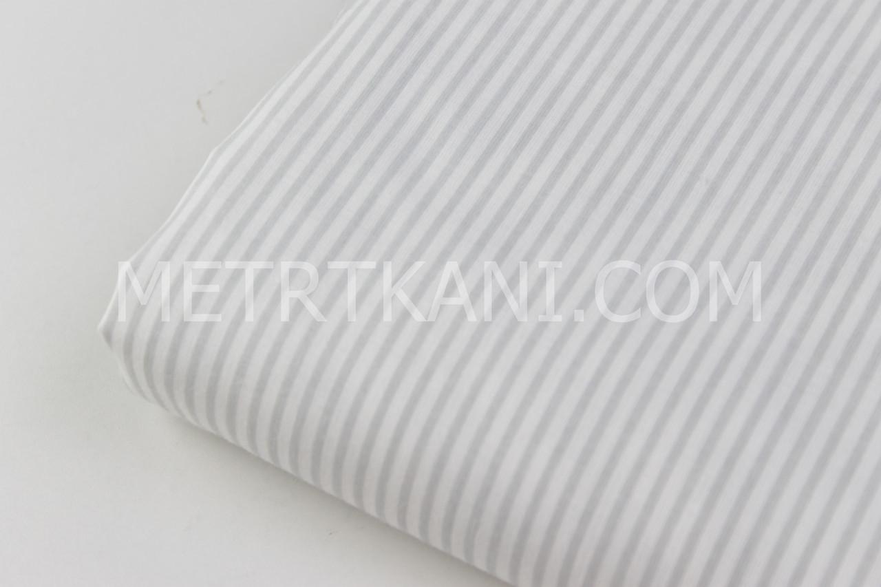 Лоскуток.  Ткань хлопковая узкая серая полоска   60*160 см