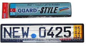 Рамка номера со стеклом (белый катафот) GUARD-Style SAK 45 (Турция)