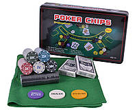 Набор для покера 300 фишек с номиналом в металлической коробке