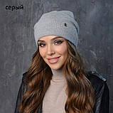 Вязаная шапка женская пряжа,60%ангора, 40% акрил, фото 2