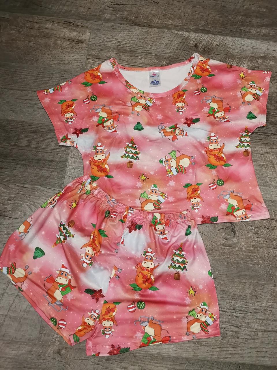Молодежная пижама  шорты + топик 120-5