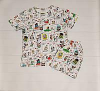 Женская пижама из трикотажного теплого хлопка с футболкой и шортами Love is, фото 1