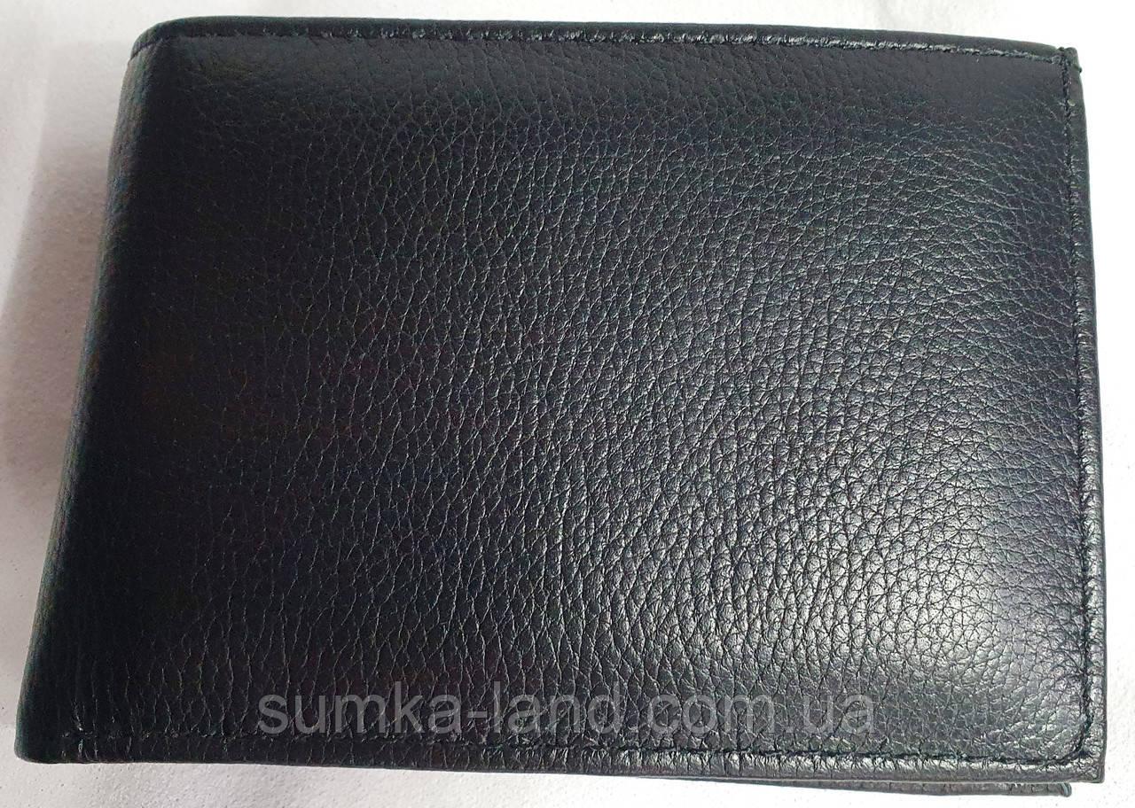 Мужской черный кожаный кошелек Genuineleather с зажимом для купюр