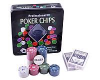 Покерный набор на 100 фишек с номиналом в металлической коробке