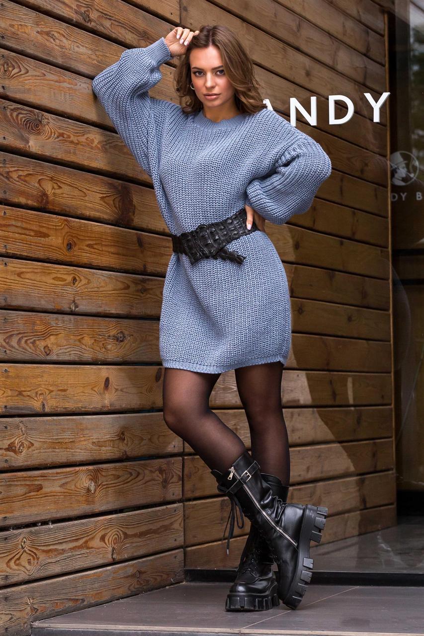 Теплое платье туника вязаное крупной петлей