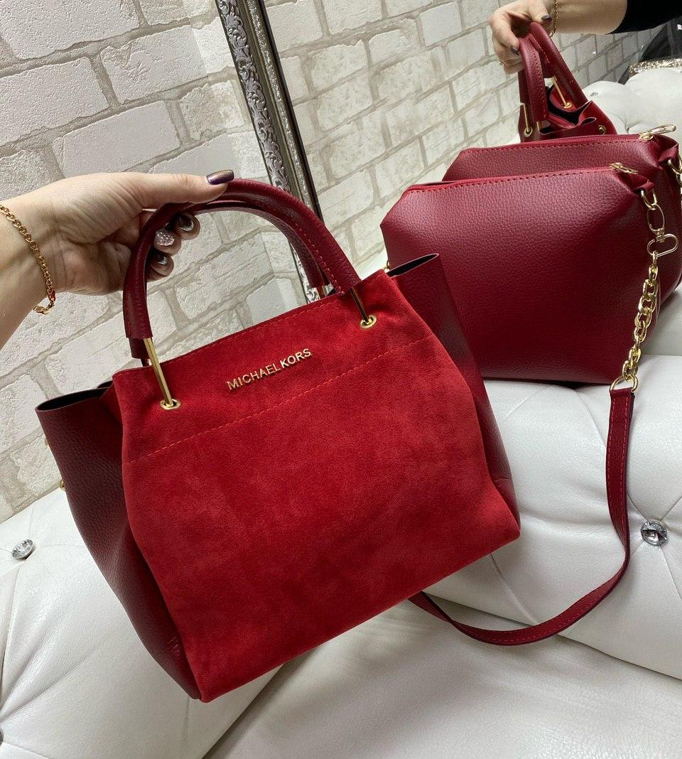 Большая замшевая женская сумка на плечо с косметичкой брендовая модная красная натуральная замша+кожзам