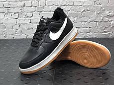 Зимние мужские кроссовки Nike Air Force black с мехом. ТОП Реплика ААА класса., фото 3