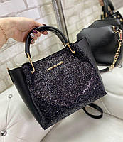Большая черная женская сумка на плечо с косметичкой стильная брендовая с блестками кожзам