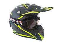 Шлем кроссовый HF-116  ЧЕРНЫЙ матовый с зеленым рисунком
