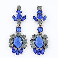 Массивные яркие серьги с синими камнями