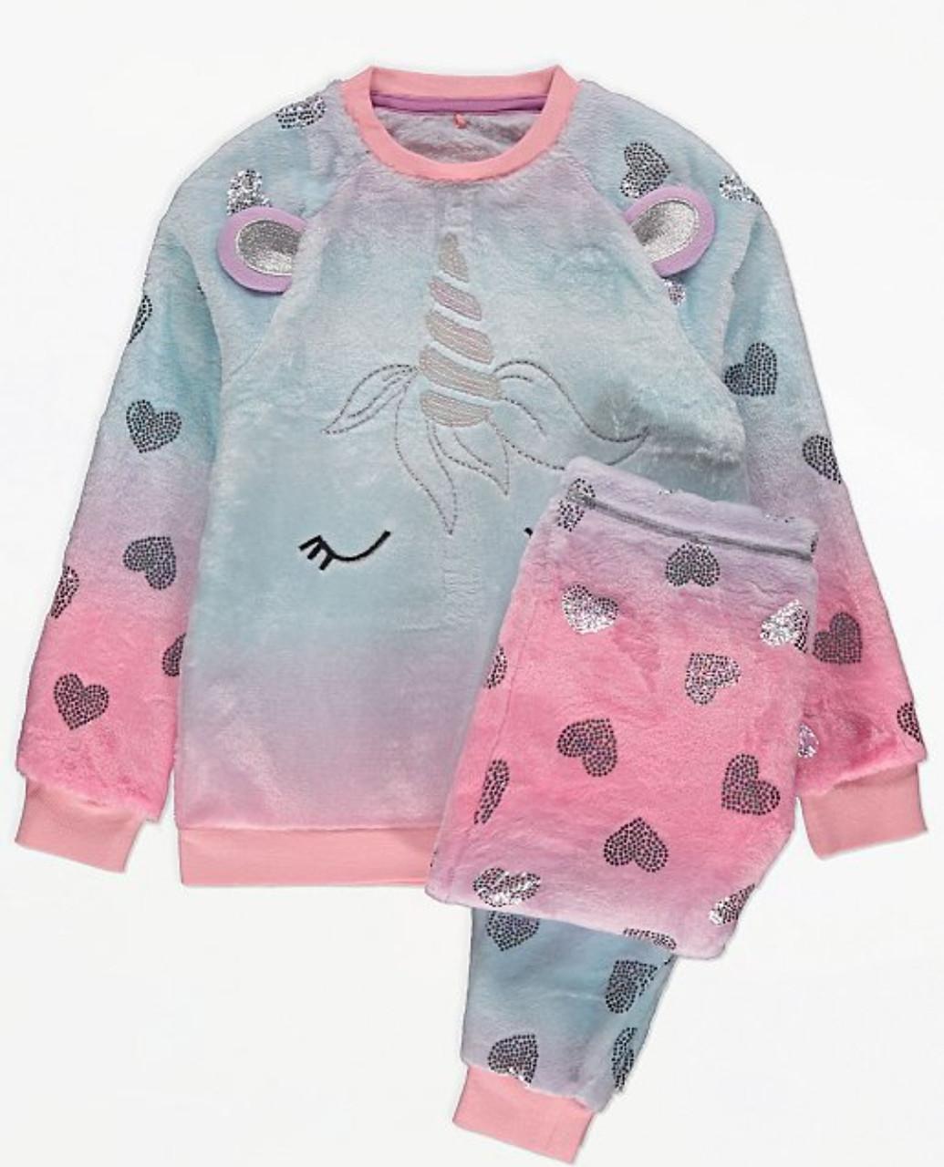 Флисовая пижамка розовая Единорог  р. 116/122, 152/158см