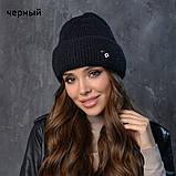 Вязаная шапка женская пряжа,60%ангора, 40% акрил, фото 3