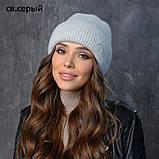 Вязаная шапка женская пряжа,60%ангора, 40% акрил, фото 4