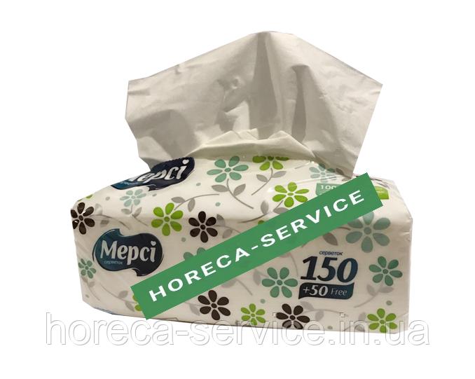 Салфетки бумажные косметические трехслойные Мерси  400 шт./упаковка