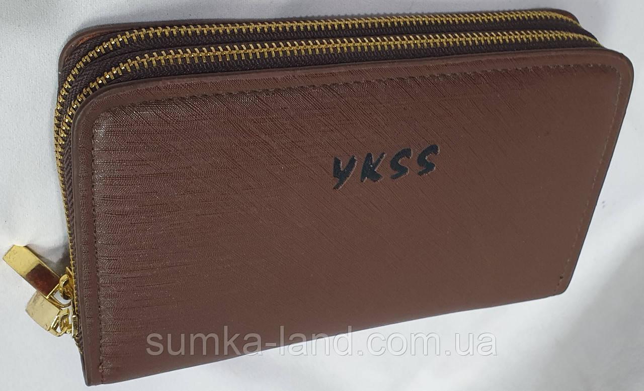 Мужской каштановый кошелек-клатч из кожзама на две молнии 20*12 см