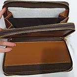Мужской каштановый кошелек-клатч из кожзама на две молнии 20*12 см, фото 2