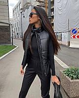 Женская жилетка матовая экокожа на синтепоне 150 цвет- чёрный Размеры: 42-44, 44-46 46-48, 50-52