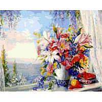 Картина рисование по номерам Babylon Лилии на окне с видом на море 40х50см VP330 набор для росписи, краски,