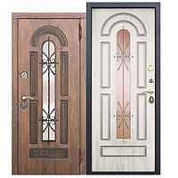 Входная металлическая дверь со стеклопакетом и ковкой Vikont Грецкий орех/Сосна белая