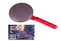 Блинница погружная электрическая HAEGER HG 5209-1 Crepe Maker 650Вт, антипригарные блинные сковородки, Красный