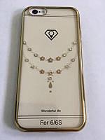 Чехол на iPhone 6/6s силиконовый прозрачный, цепочка с камушками, с бампером под металл в камушках COV-054
