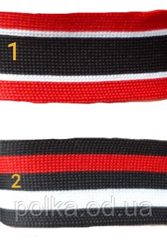 Лампас смугастий трикотажний, ширина 3 см, колір чорний білий червоний(1уп=65м)