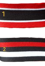 Лампас трикотажный полосатый, ширина 3см, цвет черный белый красный(1уп=65м)