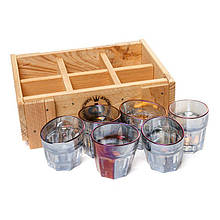 Набор 6 пьяных граненых необычных рюмок Rainbow в деревянном ящичке