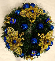 Венок новогодний  украшенный золотом с синим