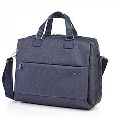 Сумка портфель для документов мужская синяя тканевая на плечо стильная Dolly 654