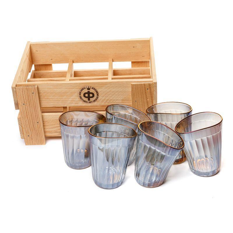 Набор пьяных граненых стаканов, 6 шт