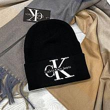 Шапка лопата c вышивкой CK Черная