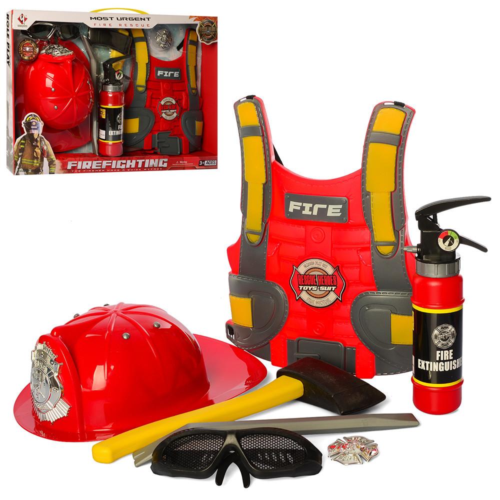 Игровой набор пожарника F015C каска, мегафон, фонарик. Брызгает водой