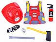 Игровой набор пожарника F015C каска, мегафон, фонарик. Брызгает водой, фото 5