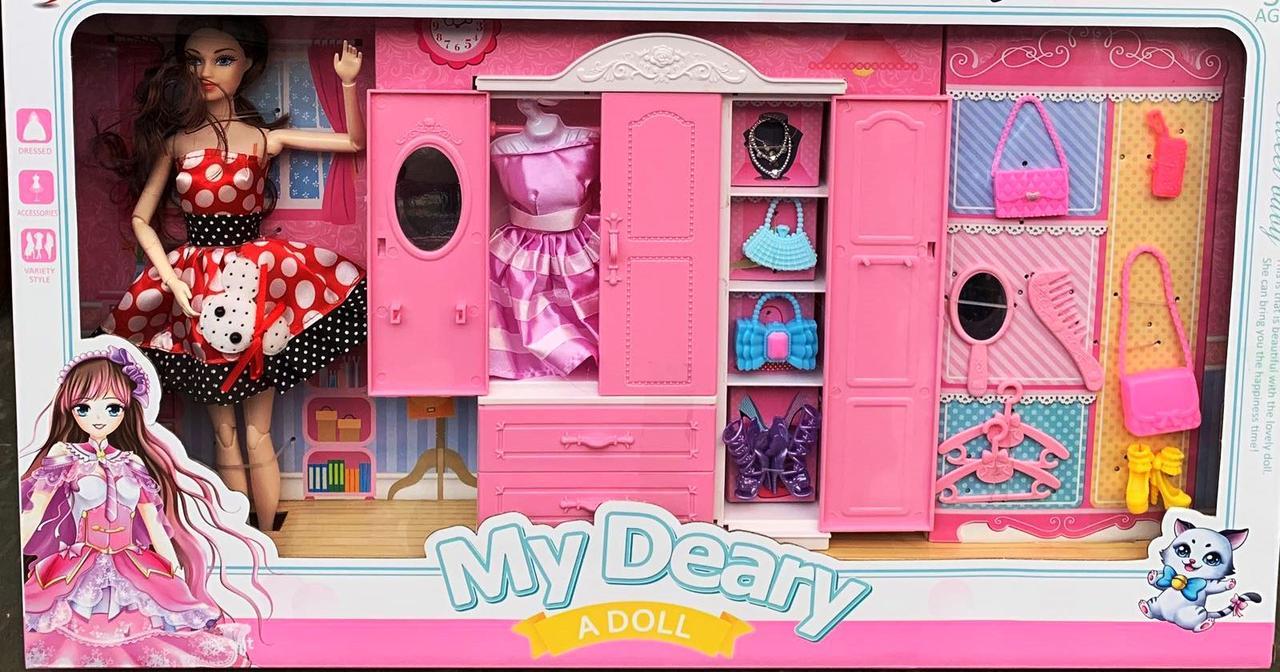 Кукла модница со шкафом 555 13 наряды и аксессуары