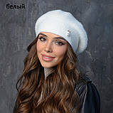 Вязаная женская шапка-берет пряжа,60%ангора, 40% акрил, фото 3